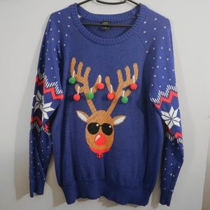 Sweaters - Reindeer in Sunglasses Christmas Sweater with poms